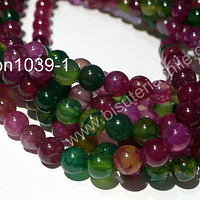 Agatas, Agata lisa de 6 mm, en tonos verdes y fucsias, tira de 63 piedras aprox