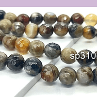 Agatas, Agata facetada en tonos café de 8 mm, tira de 46 piedras apróx