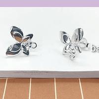 Base de aro baño de plata en forma de mariposa, 28 x 14 mm, por par