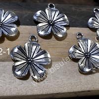 Dije plateado en forma de flor, 20 mm de diámetro, set de 5 unidades