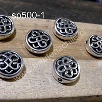 Separado plateado, 10 mm de diámetro, 4 mm de ancho, agujero de 1,5 mm, set de 8 unidades
