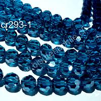 Cristal redondo de 8 mm, color calipso oscuro, tira de 38 cristales