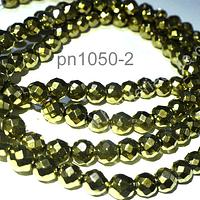 Hematite facetada 6 mm en color dorado, tira de 64 piedras aprox.