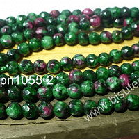 Agata facetada 4 mm, color verde y fucsia, tira de 90 piedras aprox