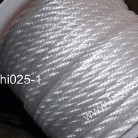 Hilo trenzado 3 mm en color blanco, rollo de 23 metros