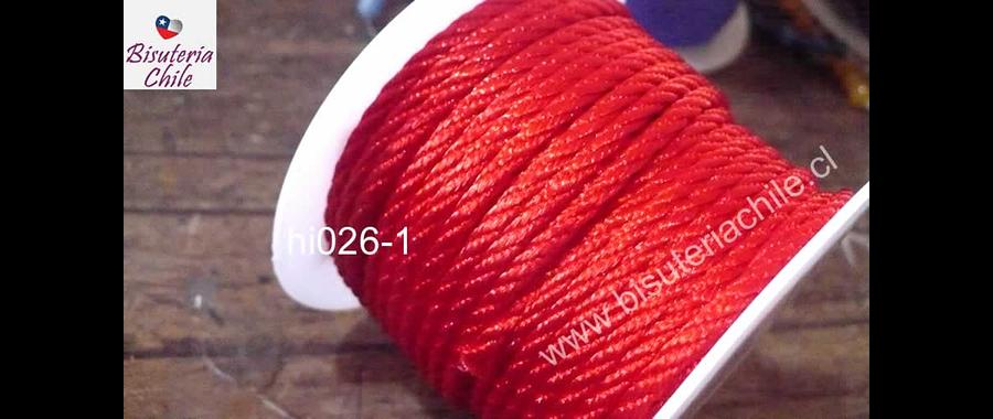 Hilos, Hilo trenzado 3 mm en color rojo, rollo de 23 metros