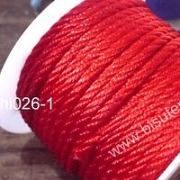 Hilo trenzado 3 mm en color rojo, rollo de 23 metros