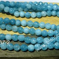 Jade azul facetado de 4 mm , tira de 90 piedras aprox