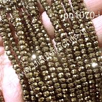 Pirita facetada rondell, 3 x 4 mm, tira de 130 piezas a prox