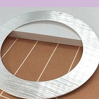 Circulo baño de plata con perforación superior, 50 mm, 7 mm de ancho, por unidad
