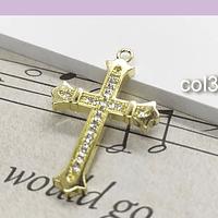 Colgante cruz con zirconia,  26 x 17 mm, por unidad