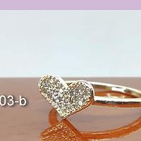 Anillo zirconia corazón, baño de oro, 17 mm interior, N°14, por unidad