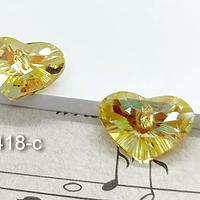 Cristal corazón amarillo tornasol, con agujero superior, 12 x 17 mm, por par