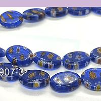 Vidrio murano en forma ovalada, color azul con flores, 14 x 10 mm, tira de 27 piezas