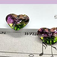 Cristal corazón tornasol, con agujero superior, 12 x 17 mm, por par
