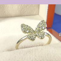 Anillo zirconia baño de oro, mariposa, 17 mm medida interior, N°14, por unidad