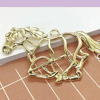Colgante caballo baño de oro, 50 x 38 mm, por unidad