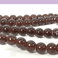 Perla de vidrio café 6 mm tira de 72 piedras aprox