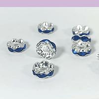 Strass plateado con cristales azules, 8 mm, set de 10 unidades