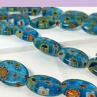 Vidrio murano en forma ovalada, color celestel con flores, 14 x 10 mm, tira de 27 piezas