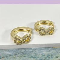 Aros tipo argolla infinito zirconia y baño de oro,  13 mm, por par