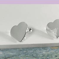 Base de aro baño de plata en forma de corazón, 12 x 14 mm, por par