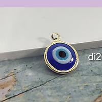 Dije ojo turco con baño de oro, 11 mm, por unidad