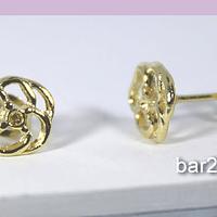 Base de aro baño de oro en forma de flor, 9 mm, por par