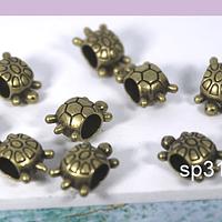 Separador envejecido en forma de tortuga, 12 x 7 mm, set de 10 unidades