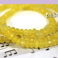 Agatas, Agata RONDELL amarillo de 4 mm, tira de 120 piedras aprox