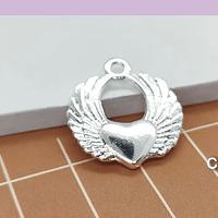 Colgante corazón detente baño de plata, 22 x 20 mm, set de 6 unidades (por mayor)