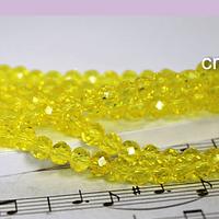 Cristal amarillo 4 mm, tira de 140 cristales aprox