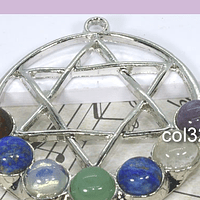 Colgante, colgantes 7 chakras, con piedras naturales, 58 mm, por unidad