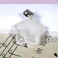 Dije cuarzo cristal en forma de estrella, 21 mm, por unidad