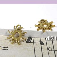 Dije acero sol dorado, 11 mm, set de 2 unidades