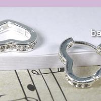 Aro zirconia y baño de plata en forma de corazón, 14 mm, por par