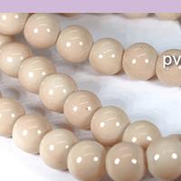Perla de vidrio pintado 8 mm color beige tira de 54 unidades