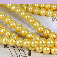 imitación perla amarillo dorado  6 mm, tira de 145 perlas aprox