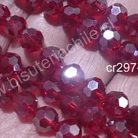 Cristal redondo de 8 mm, color rojo, tira de 38 cristales aprox