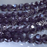 Cristal redondo de 8 mm, color ciruela, tira de 30 cristales aprox