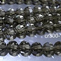 Cristal redondo de 8 mm, color café claro, tira de 38 cristales aprox