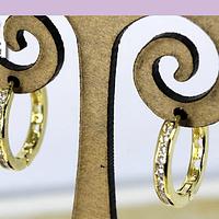 Aros tipo argolla zirconia, baño de oro, 16 mm, por par