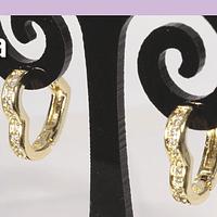 Aro zirconia y baño de oro en forma de corazón, 14 mm, por par