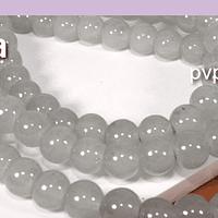 Perla de vidrio gris 6 mm tira de 72 piedras aprox