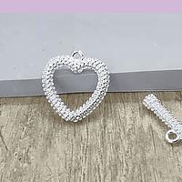Cierre baño de plata en forma de corazón, 14 x 15 mm, set de 6 unidades (por mayor)