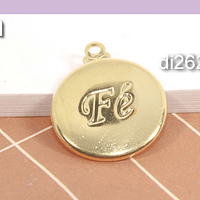 Dije baño de oro, Fe, 15 mm, por unidad