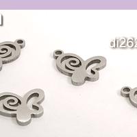 Dije acero mariposa, 10 x 11 mm, set de 4 unidades