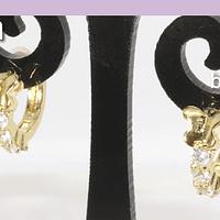 Aro zirconia y baño de oro, 9 mm, por par