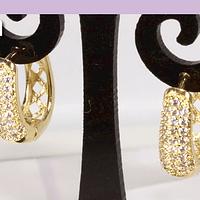 Aros zirconia con base baño de oro, 15 x 15 mm, 7 mm, de ancho, por par