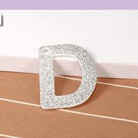 Letra D, baño de plata, 15 x 12 mm, por unidad